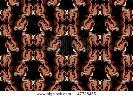 Abstract vector seamless from different elements on the black.