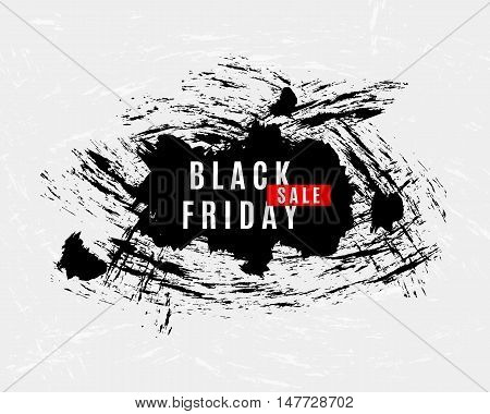 Black Friday Sale grunge splats modern banner. Advertisement placard, Promo flyer. Promotional design for online store, web site. Vector business template