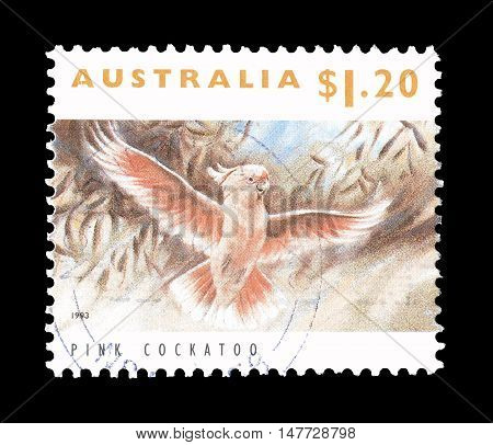 AUSTRALIA - CIRCA 1993 : Cancelled postage stamp printed by Australia, that shows Pink cockatoo.