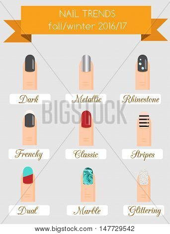Trendy women nails of fall winter 2017 season. manicure trends beauty infographic