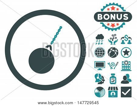 Destruction Hammer icon with bonus design elements. Vector illustration style is flat iconic bicolor symbols, soft blue colors, white background.