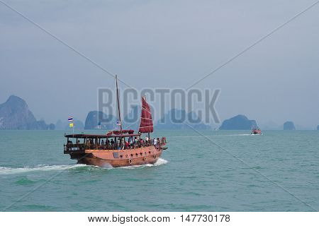 Tourist speedboats at the Bali Hai pier in Pattaya Thailand