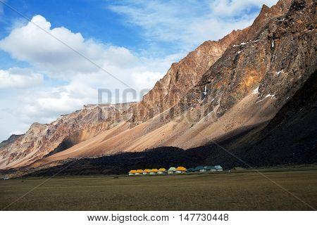 Sarchu Camping Tents At The Leh - Manali Highway In The Indian Himalayas