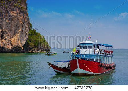 Tourist boat at the Bali Hai pier in Pattaya Thailand