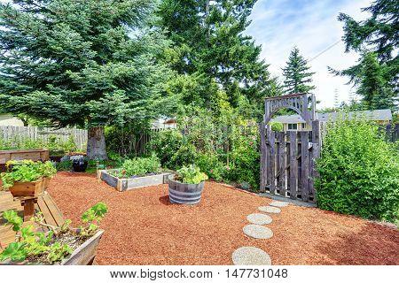 Fenced Backyard Area With Well Kept Garden