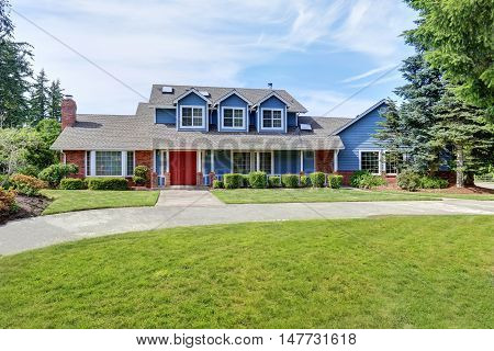 American House Exterior With Blue And White Trim. Also Red Front Door