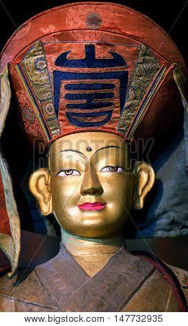 LEH, INDIA - JUNY 11, 2013: Beautiful Buddhists statue at Thiksey Gompa (Tibetan Buddhist Monastery) in Ladakh, Jammu and Kashmir.