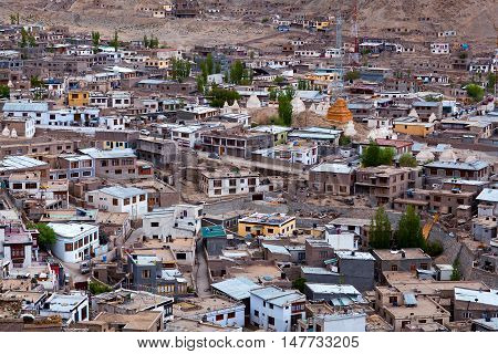 Leh city view in Jammu and Kashmir, India. Leh is located in the Indian Himalayas at an altitude of 3500 meters.