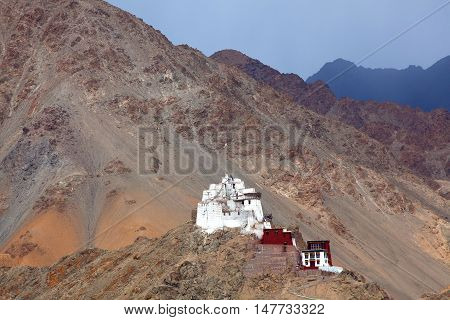 Namgyal Tsemo Gompa (Buddhist Monastery) in Leh Ladakh Jammu and Kashmir state India. Founded in 1430 by King Tashi Namgyal of Ladakh it has a three-story high gold statue of Maitreya Buddha and ancient manuscripts and frescoes.