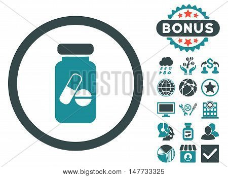 Drugs Phial icon with bonus images. Vector illustration style is flat iconic bicolor symbols, soft blue colors, white background.