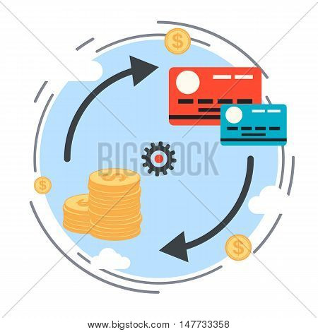 Money transaction, currency exchange, credit card flat design style vector concept illustration