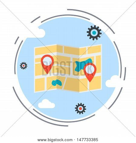 Location map, delivery, transportation, route, navigation service flat design style vector illustration