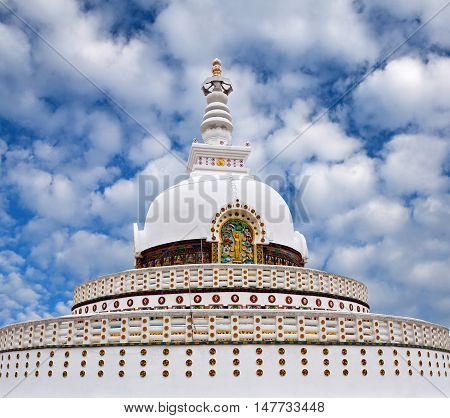 Shanti Stupa (Peace Pagoda) on a hilltop in Chanspa in Leh, Jammu and Kashmir, North India.