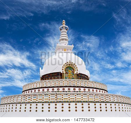 Shanti Stupa view on a hilltop in Chanspa in Leh, Jammu and Kashmir state, North India.