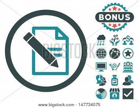 Edit Records icon with bonus symbols. Vector illustration style is flat iconic bicolor symbols, soft blue colors, white background.
