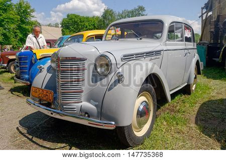 Kharkiv Ukraine - May 22 2016: Soviet retro car Moskvich 401 exhibited at the festival of vintage cars Kharkiv Retro Rally - 2016 in Kharkiv Ukraine on May 22 2016