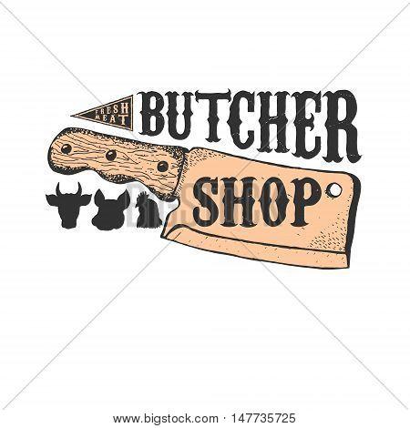 Hand drawn meat cleaver. Butcher shop emblem template. Butchery. Vector illustration.