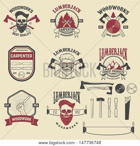 Set of woodworks carpentry labels emblems and design elements. Vector illustration.