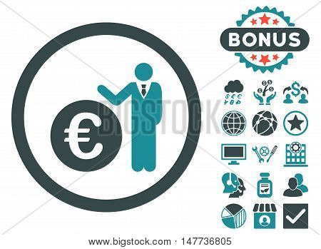Euro Economist icon with bonus pictures. Vector illustration style is flat iconic bicolor symbols, soft blue colors, white background.