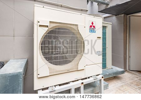 Moscow Russian Federation September 14 2016: Air conditioning Mitsubishi system assembled and installed on top of the building.
