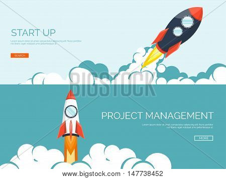 Flat rocket. Project start up. Space. Smart solutions. New product launch