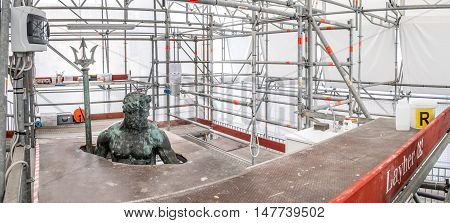 Bologna Italy September 18 2016 - Restoration and conservation yard of the Neptune statue part of the Neptune fountain in Bologna.