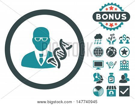 Genetic Engineer icon with bonus elements. Vector illustration style is flat iconic bicolor symbols, soft blue colors, white background.