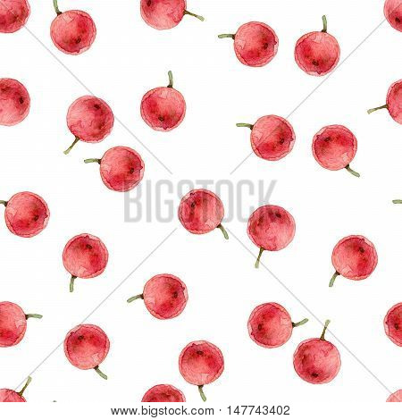 Simple watercolor seamless pattern with red holly berries