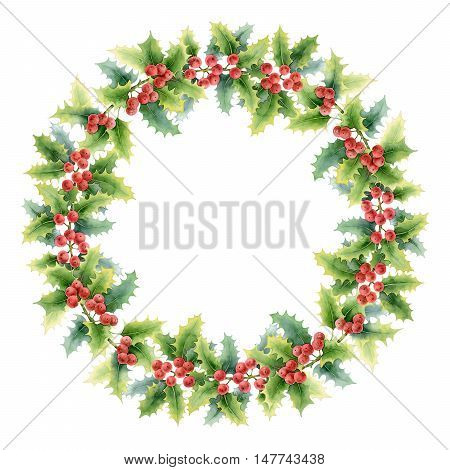 Christmas wreath with holly isolated on white background. Watercolor illustration