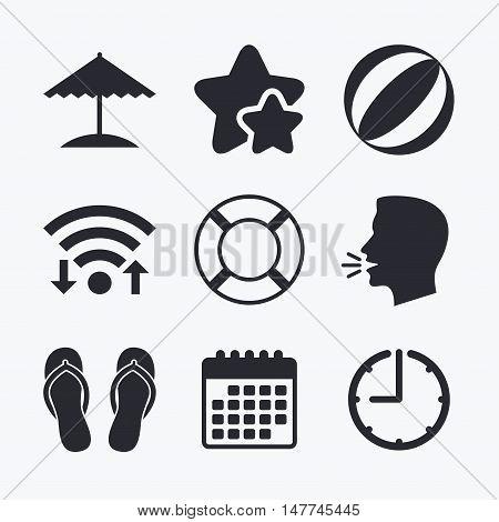 Beach holidays icons. Ball, umbrella and flip-flops sandals signs. Lifebuoy symbol. Wifi internet, favorite stars, calendar and clock. Talking head. Vector