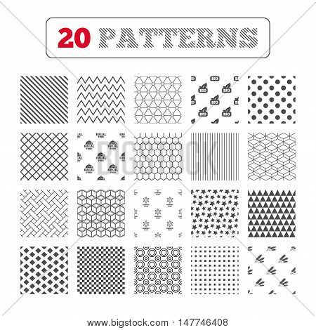 Ornament patterns, diagonal stripes and stars. Natural Bio food icons. Halal and Kosher signs. Gluten free and star of David symbols. Geometric textures. Vector