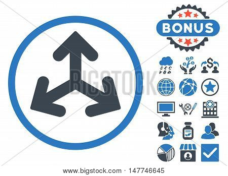 Direction Variants icon with bonus symbols. Vector illustration style is flat iconic bicolor symbols, smooth blue colors, white background.