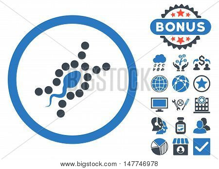 DNA Replication icon with bonus symbols. Vector illustration style is flat iconic bicolor symbols, smooth blue colors, white background.