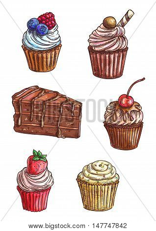 Delicious chocolate cake and cupcake sketches topped with vanilla, fruity and mint cream, chocolate glaze, fresh cherry, strawberry and raspberry fruits, wafer roll, sprinkles