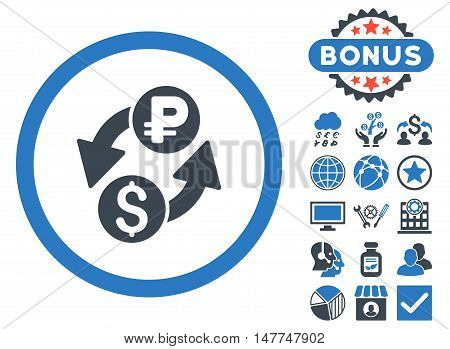 Dollar Rouble Exchange icon with bonus pictures. Vector illustration style is flat iconic bicolor symbols, smooth blue colors, white background.