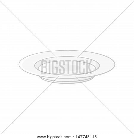 Plate icon in black monochrome style isolated on white background. Dishes symbol vector illustration