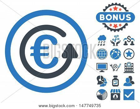 Euro Chargeback icon with bonus pictogram. Vector illustration style is flat iconic bicolor symbols, smooth blue colors, white background.