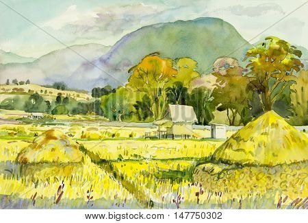 Watercolor landscape original painting colorful of cornfield and emotion in blue mountain background