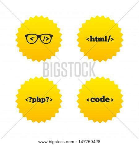 Programmer coder glasses icon. HTML markup language and PHP programming language sign symbols. Yellow stars labels with flat icons. Vector