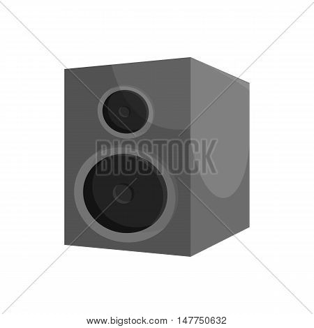 Music speacker icon in black monochrome style isolated on white background. Sound symbol vector illustration