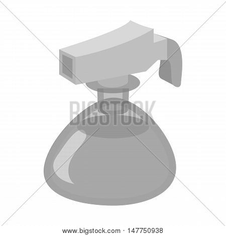 Small spray bottle icon in black monochrome style isolated on white background. Tool for disinfection symbol vector illustration