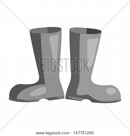 Two rubber boots icon in black monochrome style isolated on white background. Shoes symbol vector illustration