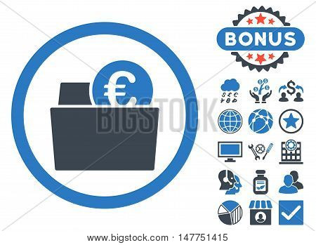 Euro Wallet icon with bonus pictogram. Vector illustration style is flat iconic bicolor symbols, smooth blue colors, white background.
