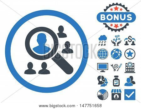 Explore Patients icon with bonus images. Vector illustration style is flat iconic bicolor symbols, smooth blue colors, white background.