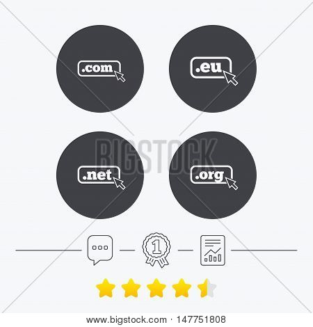 Top-level internet domain icons. Com, Eu, Net and Org symbols with cursor pointer. Unique DNS names. Chat, award medal and report linear icons. Star vote ranking. Vector