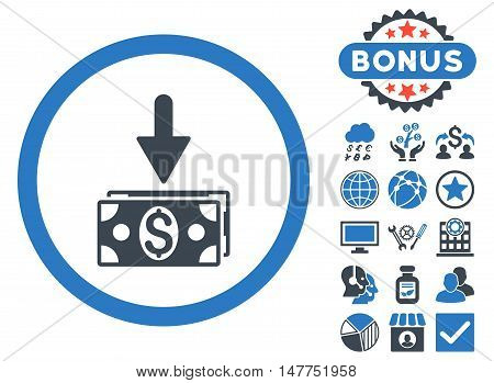 Get Dollar Banknotes icon with bonus pictures. Vector illustration style is flat iconic bicolor symbols, smooth blue colors, white background.