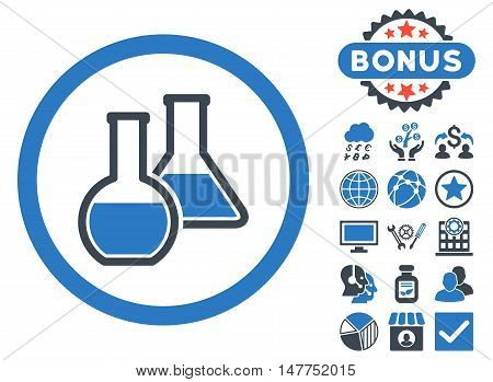 Glass Flasks icon with bonus symbols. Vector illustration style is flat iconic bicolor symbols, smooth blue colors, white background.