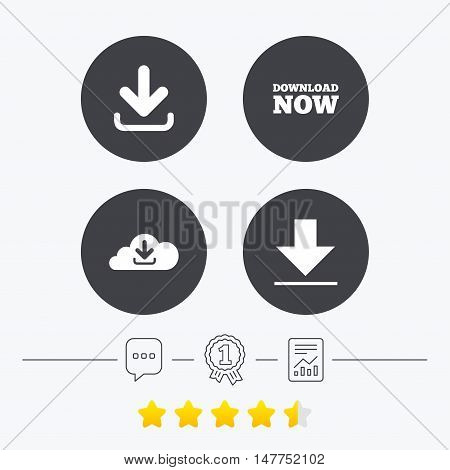 Download now icon. Upload from cloud symbols. Receive data from a remote storage signs. Chat, award medal and report linear icons. Star vote ranking. Vector