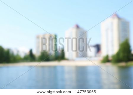 Blurred view of the multi-storey buildings