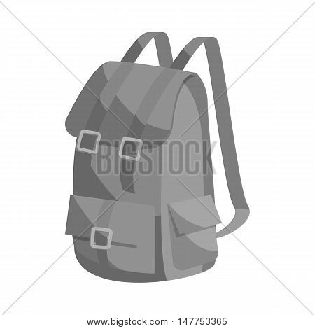 Hunting backpack icon in black monochrome style isolated on white background vector illustration